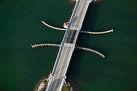 aerial photograph draw bridge Venetian Causeway Biscayne Bay Miami Florida