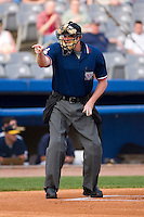 Home plate umpire Chad Whitson makes a strike call during the Eastern League contest between the Trenton Thunder and the Connecticut Defenders at Dodd Stadium in Norwich, CT, Tuesday, June 3, 2008.