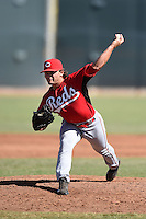 Cincinnati Reds pitcher Jacob Moody (61) during an Instructional League game against the Kansas City Royals on October 16, 2014 at Goodyear Training Complex in Goodyear, Arizona.  (Mike Janes/Four Seam Images)