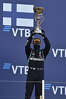 27th September 2020, Sochi, Russia; FIA Formula One Grand Prix of Russia, Race Day;  77 Valtteri Bottas FIN, Mercedes-AMG Petronas Formula One Team celebrates with his trophy on the podium