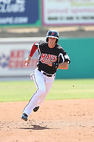 Ryan Cordell (9) of the High Desert Mavericks runs the bases during a game against the Bakersfield Blaze at Mavericks Stadium on May 18, 2015 in Adelanto, California. High Desert defeated Bakersfield, 7-6. (Larry Goren/Four Seam Images)