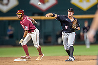 Texas Tech Red Raiders shortstop Josh Jung (16) turns a double play during Game 9 of the NCAA College World Series against the Florida State Seminoles on June 19, 2019 at TD Ameritrade Park in Omaha, Nebraska. Texas Tech defeated Florida State State 4-1. (Andrew Woolley/Four Seam Images)