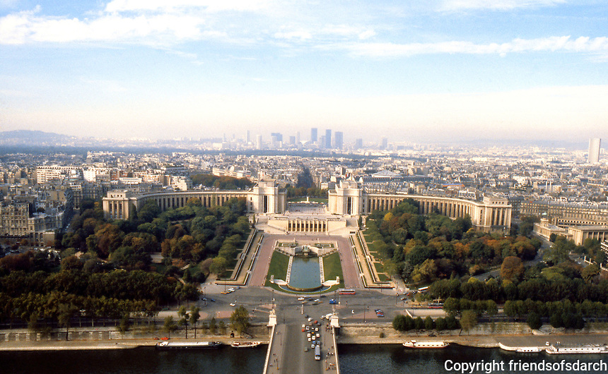Paris: Trocadero from Eiffel Tower. Completed for the Exposition of 1937, replacing old 1878 Trocadero.
