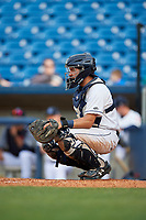 Lake County Captains catcher Jonathan Laureano (23) during the first game of a doubleheader against the South Bend Cubs on May 16, 2018 at Classic Park in Eastlake, Ohio.  South Bend defeated Lake County 6-4 in twelve innings.  (Mike Janes/Four Seam Images)