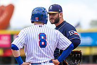San Antonio Missions first baseman David Freitas (23) and Iowa Cubs second baseman Ian Happ (8) during a Pacific Coast League game on May 2, 2019 at Principal Park in Des Moines, Iowa. Iowa defeated San Antonio 8-6. (Brad Krause/Four Seam Images)