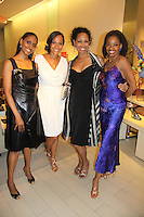 """Actress Sally Stewart, Guiding Light Yvonne Wright & Kim Brockington, Adriane Lenox - Tony Winner 2007 for """"Doubt"""" at The Innaugural Celebration of Color on Broadway Awards were held on June 8, 2011 at SAKS Fifth Avenue, New York City, New York. The event was held upstairs where beautiful shoes are sold and where a part of the sales this night will benefit OPUS 118 Harlem's School of Music. (Photo by Sue Coflin/Max Photos)"""