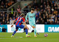 27th September 2021;  Selhurst Park, Crystal Palace, London, England; Premier League football, Crystal Palace versus Brighton & Hove Albion: Adam Lallana of Brighton & Hove Albion passes the ball into midfield covered by Conor Gallagher of Crystal Palace