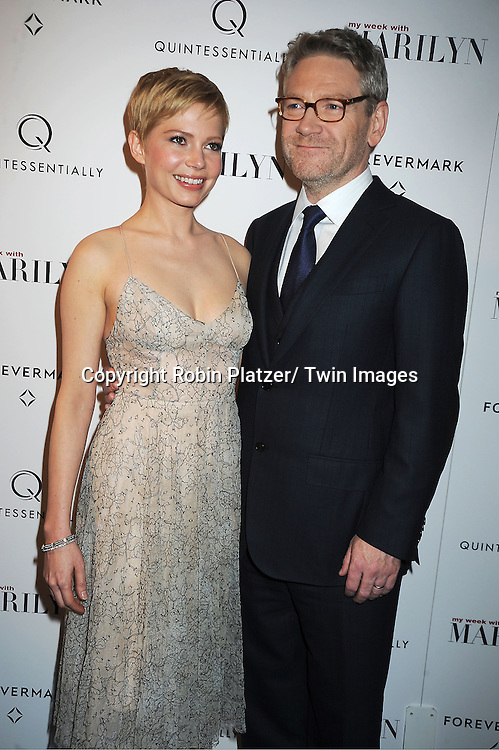 """actress Michelle Williams in Erdem dress and Kenneth Branagh attends The New York Premiere of """"My Week With Marilyn"""" on November 13, 2011 at the Paris Theatre in New York City. The movie stars Michelle Williams, Kenneth Branagh, Dominic Cooper and Zoe Wanamaker."""