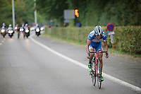 Bjorn Leukemans (BEL/Wanty-Groupe Gobert) attacks from the front of the breakaway group (in a decisive move) in the last lap and will stay ahead until the finish a few kilometres ahead.<br /> <br /> GP Jef Scherens 2015