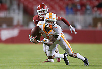 Tennessee wide receiver Velus Jones Jr. (1) reaches for a pass ruled incomplete, Saturday, November 7, 2020 during a football game at Donald W. Reynolds Razorback Stadium in Fayetteville. Check out nwaonline.com/201108Daily/ for today's photo gallery. <br /> (NWA Democrat-Gazette/Charlie Kaijo)