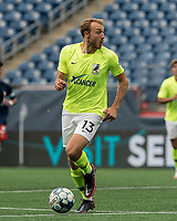 FOXBOROUGH, MA - MAY 12: Daltyn Knutson #13 of Union Omaha looks to pass during a game between Union Omaha and New England Revolution II at Gillette Stadium on May 12, 2021 in Foxborough, Massachusetts.