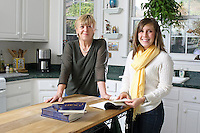 {November 7, 2009} 11:14:14 AM -- Fredericksburg, VA. -- Jody Williams, a Nobel Peace prize winner for her work in eradicating land mines, left, has pulled together a cookbook with recipes from other Nobel laureates and people who have worked for peace. She did the work in combination with her stepdaughter Emily Goose, right, as part of Emily's high school senior project.  ... -- ...Photo by Andrew B. Shurtleff, Freelance.