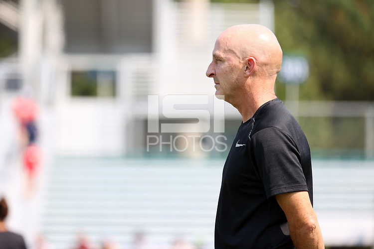 CARY, NC - SEPTEMBER 12: Head coach Paul Riley of the North Carolina Courage before a game between Portland Thorns FC and North Carolina Courage at Sahlen's Stadium at WakeMed Soccer Park on September 12, 2021 in Cary, North Carolina.