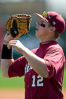 South Carolina first baseman Justin Smoak (12) catches a fly ball versus LSU at Sarge Frye Stadium in Columbia, SC, Thursday, March 18, 2007.