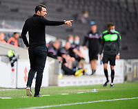 Milton Keynes Dons manager Russell Martin shouts instructions to his team from the technical area<br /> <br /> Photographer Chris Vaughan/CameraSport<br /> <br /> The EFL Sky Bet League One - Milton Keynes Dons v Lincoln City - Saturday 19th September 2020 - Stadium MK - Milton Keynes<br /> <br /> World Copyright © 2020 CameraSport. All rights reserved. 43 Linden Ave. Countesthorpe. Leicester. England. LE8 5PG - Tel: +44 (0) 116 277 4147 - admin@camerasport.com - www.camerasport.com