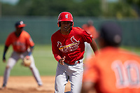 GCL Cardinals Yowelfy Rosario (11) running the bases during a Gulf Coast League game against the GCL Astros on August 11, 2019 at Roger Dean Stadium Complex in Jupiter, Florida.  GCL Cardinals defeated the GCL Astros 2-1.  (Mike Janes/Four Seam Images)