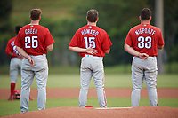 Philadelphia Phillies Zach Green (25), Spencer Howard (15), and Quincy Nieporte (33) stand for the national anthem before an Instructional League game against the Toronto Blue Jays on September 30, 2017 at the Carpenter Complex in Clearwater, Florida.  (Mike Janes/Four Seam Images)