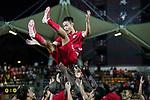 Chan Wai Ho of Hong Kong (C) celebrates with his teammates after played the last match for Hong Kong during the International Friendly match between Hong Kong and Jordan at Mongkok Stadium on June 7, 2017 in Hong Kong, China. Photo by Cris Wong / Power Sport Images