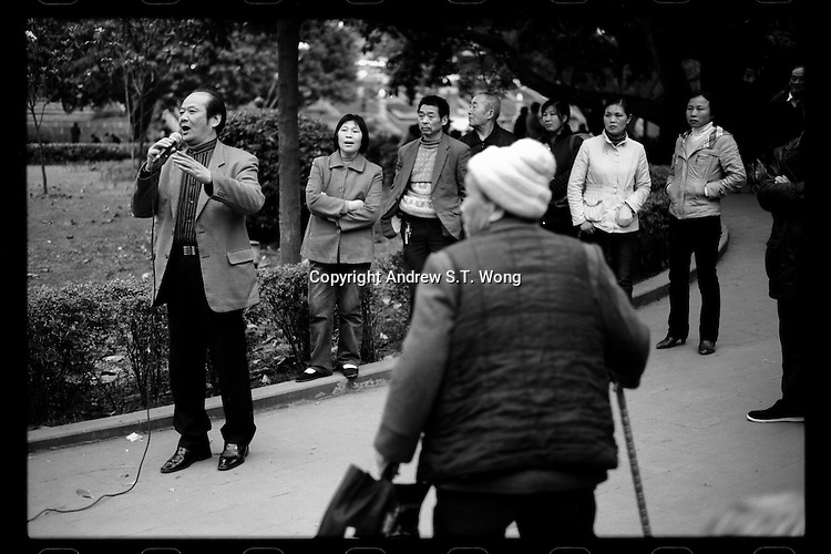 A man sings at the People's Park of Chongqing, China's southwestern municipality, in April, 2011.