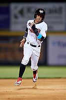 Tri-City ValleyCats center fielder Ramiro Rodriguez (8) runs the bases during a game against the Vermont Lake Monsters on June 16, 2018 at Joseph L. Bruno Stadium in Troy, New York.  Vermont defeated Tri-City 6-2.  (Mike Janes/Four Seam Images)