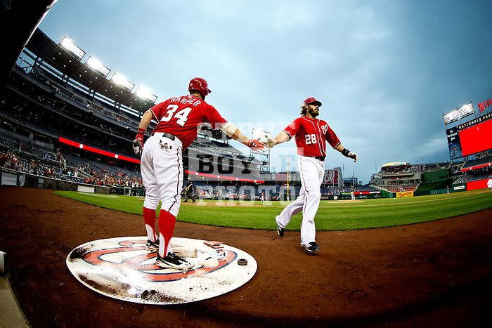 Washington Nationals outfielder Bryce Harper (34) slaps hands with outfielder Jayson Werth (28) during a game against the Miami Marlins at Nationals Park in Washington, DC on September 8, 2012.