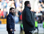 St Johnstone v Dundee....11.04.15   SPFL<br /> Dundee manager Paul Hartley watches Tommy Wright<br /> Picture by Graeme Hart.<br /> Copyright Perthshire Picture Agency<br /> Tel: 01738 623350  Mobile: 07990 594431