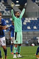 Gianluigi Donnarumma of Italy reacts during the Uefa Nation League Group Stage A1 football match between Italy and Poland at Citta del Tricolore Stadium in Reggio Emilia (Italy), November, 15, 2020. Photo Andrea Staccioli / Insidefoto