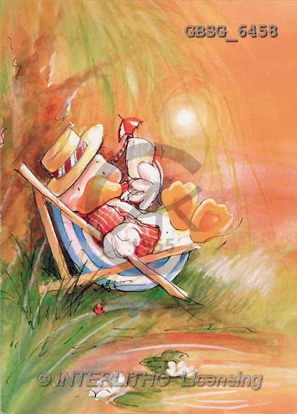 Ron, CUTE ANIMALS, Quacker, paintings, duck, sunchair(GBSG6458,#AC#) Enten, patos, illustrations, pinturas