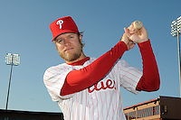 Feb 20, 2009; Clearwater, FL, USA; The Philadelphia Phillies infielder Eric Bruntlett (4) during photoday at Bright House Field. Mandatory Credit: Tomasso De Rosa/ Four Seam Images