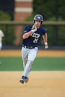 Kel Johnson (25) of the Georgia Tech Yellow Jackets hustles towards third base against the Wake Forest Demon Deacons at David F. Couch Ballpark on March 26, 2017 in  Winston-Salem, North Carolina.  The Demon Deacons defeated the Yellow Jackets 8-4.  (Brian Westerholt/Four Seam Images)