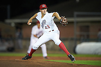 Auburn Doubledays relief pitcher Kyle Simonds (43) during a game against the Mahoning Valley Scrappers on July 19, 2016 at Falcon Park in Auburn, New York.  Mahoning Valley defeated Auburn 9-1.  (Mike Janes/Four Seam Images)