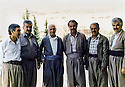 Iraq 1992 ; In Suleimania, members of PUK, from left to right, Yousif Zozani ( Kurd of Syria ), Mullazem Omar Abdallah, Ibrahim Ahmed, Ahmed Bamarne, Kemal Mufti and Dr.Hama Sabir Ismail   Irak 1992  A suleimania, de gauche a Droite, Yousif Zozani  ( Kurde de Syrie ),Mullazem Omar, Ibrahim Ahmed, Ahmed Bamarne, Kemal Mufti et Dr.Hama Sabir Ismail