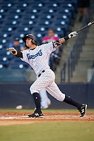Tampa Tarpons right fielder Pablo Olivares (16) hits a home run in the bottom of the fourth inning during a game against the Daytona Tortugas on April 18, 2018 at George M. Steinbrenner Field in Tampa, Florida.  Tampa defeated Daytona 12-0.  (Mike Janes/Four Seam Images)
