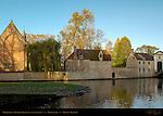 Begijnhof at Sunrise, Beguinage, founded 1245, Minnewater, Bruges, Brugge, Belgium