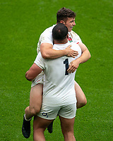 Adam Radwan (Newcastle Falcons) of England celebrates his 2nd try with Ellis Genge (Leicester Tigers) of England during the Autumn International match between England and Canada at Twickenham Stadium, London, England on 10 July 2021. Photo by Liam McAvoy.