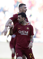 Football, Serie A: AS Roma - Cagliari, Olympic stadium, Rome, April 27, 2019. <br /> Roma's Javier Pastore (front) celebrates after scoring with his teammate Edin Dzeko (behind) during the Italian Serie A football match between AS Roma and Cagliari, on April 27, 2019. <br /> UPDATE IMAGES PRESS/Isabella Bonotto