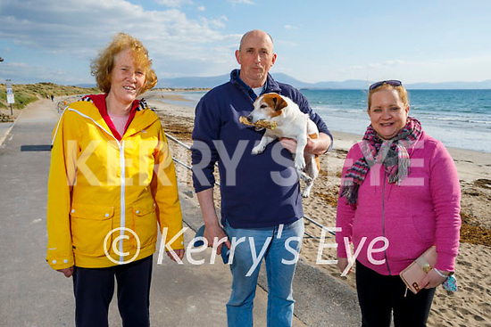 Enjoying a stroll in Ballyheigue on Thursday, l to r: Ann and Noel Casey with Messi the dog and Sheila O'Connor.