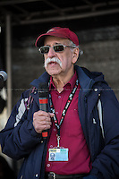 """Gerry Gable (British political activist; he was a long-serving editor of the anti-fascist Searchlight magazine).<br /> <br /> London, 22/03/2014. """"Stand Up To Racism & fascism - No to Scapegoating Immigrants, No to Islamophobia, Yes to Diversity"""", national demo marking UN Anti-Racism Day organised by TUC (Trade Union Congress) and UAF (Unite Against Fascism).<br /> <br /> For more information please click here: http://www.standuptoracism.org.uk/"""
