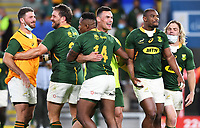 2nd October 2021, Cbus Super Stadium, Gold Coast, Queensland, Australia;   South African players celebrate winning the match. New Zealand All Blacks versus South Africa Springboks. The Rugby Championship. Rugby Union test match.