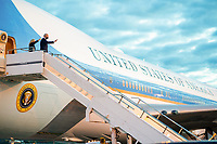 President Joe Biden and First Lady Jill Biden wave as they board Air Force One at Royal Air Force Mildenhall, England on Wednesday, June 9, 2021, en route to Cornwall Airport Newquay, England. (Official White House Photo by Adam Schultz)