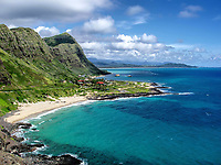 Makapuu Beach during the summer from the neighboring ridge. Oahu, Hawaii