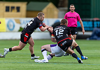 Sam Davis of London Broncos and Rhys Curran of London Broncos during the Betfred Championship match between London Broncos and Newcastle Thunder at The Rock, Rosslyn Park, London, England on 9 May 2021. Photo by Liam McAvoy.