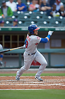 Bo Bichette (13) of the Buffalo Bisons follows through on his swing against the Caballeros de Charlotte at BB&T BallPark on July 23, 2019 in Charlotte, North Carolina. The Bisons defeated the Caballeros 8-1. (Brian Westerholt/Four Seam Images)