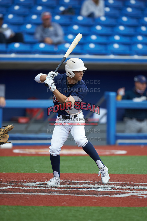Archie Dean-Herring (4) of Greensboro Day High School (NC) playing for the Atlanta Braves scout team during game two of the South Atlantic Border Battle at Truist Point on September 26, 2020 in High Pont, NC. (Brian Westerholt/Four Seam Images)