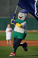 Cedar Rapids Kernels mascot, Mr. Shucks, performs prior to the game against the Clinton LumberKings at Veterans Memorial Stadium on April 14, 2016 in Cedar Rapids, Iowa.  The Kernels won 7-3.  (Dennis Hubbard/Four Seam Images)