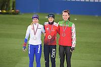SPEED SKATING: HAMAR: Viking Skipet, 01-02-2019, ISU World Cup Speed Skating, Podium 3000m Ladies Division A, Natalia Voronina (RUS), Martina Sáblíková (CZE), Maryna Zuyeva (BLR), ©photo Martin de Jong