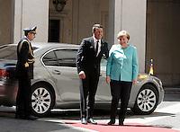 Il presidente del Consiglio Matteo Renzi accoglie il cancelliere tedesco Angela Merkel, destra, a Palazzo Chigi, Roma, 5 maggio 2016.<br /> Italian Premier Matteo Renzi welcomes German Chancellor Angela Merkel, right, at Chigi Palace, Rome, 5 May 2016.<br /> UPDATE IMAGES PRESS/Isabella Bonotto