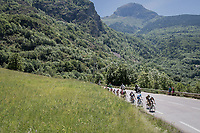 breakaway group up the Côte de Garcin (cat2/3.5km@6.4%)<br /> <br /> stage 7: Aoste > Alpe d'Huez (168km)<br /> 69th Critérium du Dauphiné 2017