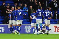 Sean Morrison of Cardiff City celebrates scoring the opening goal during the Sky Bet Championship match between Cardiff City and Queens Park Rangers at the Cardiff City Stadium in Cardiff, Wales, UK. Wednesday 02 October, 2019