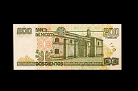 Mexico, North America.  200 Pesos Banknote, showing San Jeronimo Convent on the back side.